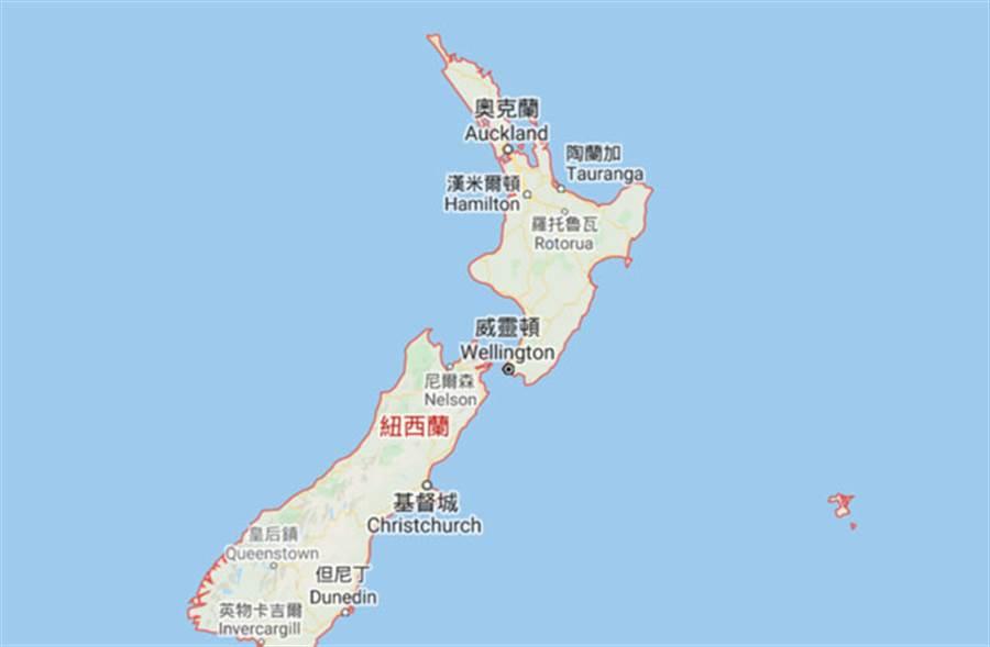 紐西蘭北部外海發生規模7.4地震。(圖/Google map)